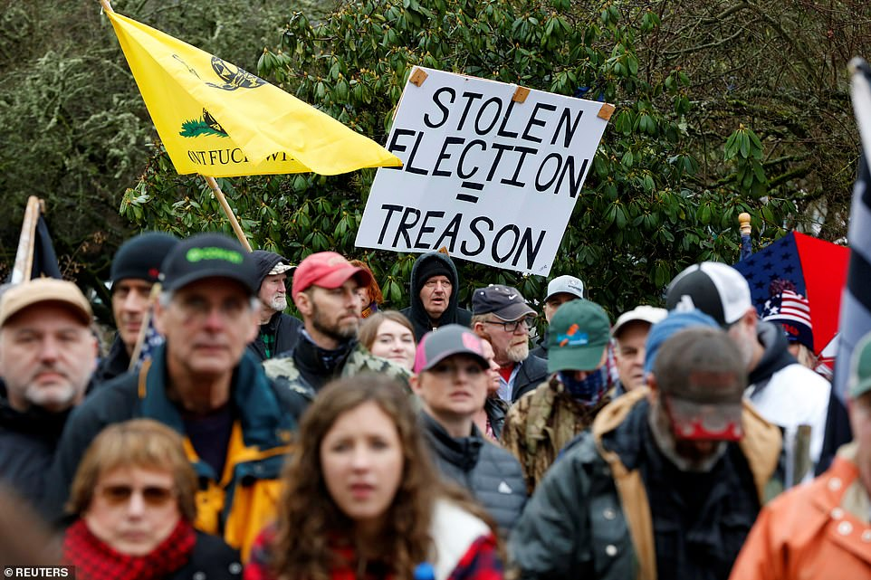 OREGON: Protesters hold a rally in support of U.S. President Donald Trump at the Oregon State Capitol in Salem